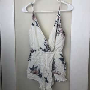 Other - Cream Floral Print Romper